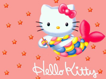 Hello Kitty - cute, hello kitty, stars, mermaid, bow, pink