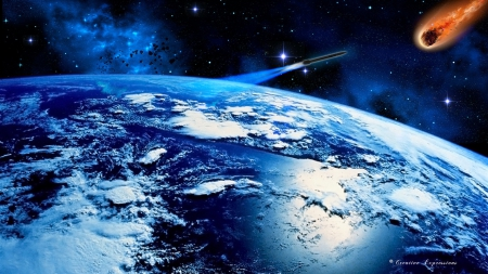 C.E. Earth Threat - stars, nebula, asteroid, earth, planet, missile, space