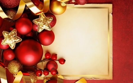 Merry Christmas! - globe, red, deco, christmas, golden, ribbon, yellow, card, bal, paper