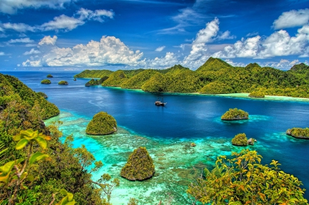 Hidden Paradise - forest, islands, beautiful, sky, clouds, sea, beach, green, Indonesia, coral reef, tropical, blue