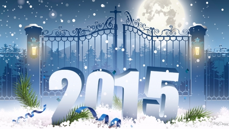 Gateway to 2015 - stars, gate, New Years, tinsel, lamp posts, lights, winter, snow, full moon, blue, 2015