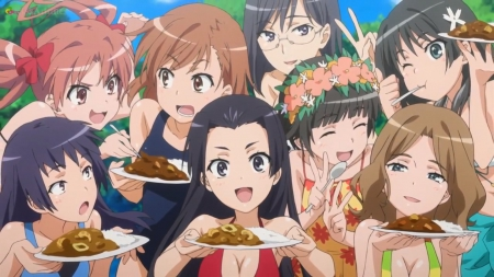 Yummy Food - swimsuit, uiharu, pretty, saten, kuroko, adorable, sweet, nice, misaka, yummy, anime, anime girl, long hair, lovely, food, silly, misaka mikoto, happy, short hair, cute, railgun, to aru kagaku no railgun, plate, mikoto, mikoto misaka, black hair, female, delicious, brown hair, bikini, kawaii, girl, funny