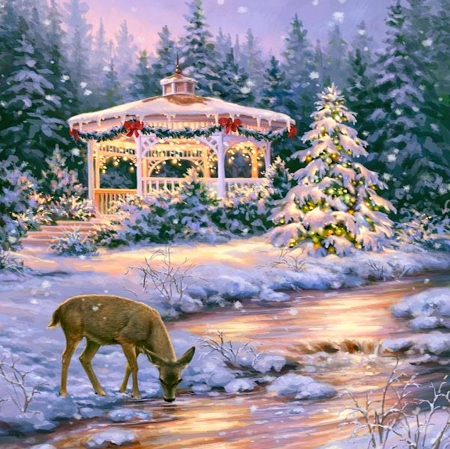 Christmas in nature - forest, christmas, beautiful, creek, deer, lights, winter, tree, splendor, now, new, peaceful, river