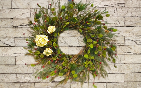 Christmas wreath on a stone wall - wreaths, christmas wreath, stone, flowers, roses, wall, outdoor, decor