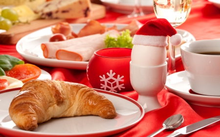 Christmas Breakfast - meal, deco, christmas tree, holidays, santa claus, xmas, egg, photography, SkyPhoenixX1, season, morning, table, photo, food, christmas, decoration, christmas decoration, breakfast, fir tree, abstract, winter, fir trees, silent night, santa, croissant