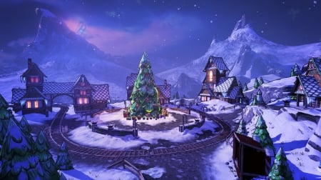 Christmas Village - tree, moutains, night, houses