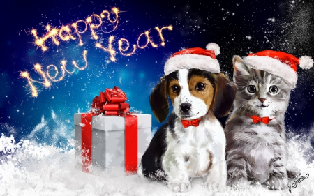 ☆ Happy New Year 2015 ☆ - holidays, artwork, xmas, fireworks, party, SkyPhoenixX1, new years eve, dog, present, christmas, kitty, celebration, new year, gift, cat, abstract, winter, santa, snow, snowflakes, kitten, 2015