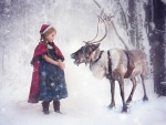 Little Girl and Reindeer