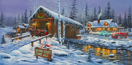 Holiday gathering - house, cottage, covered, lights, gathering, bridge, painting, village, frost, art, holiday, christmas, fun, joy, winter, snow, snowfall