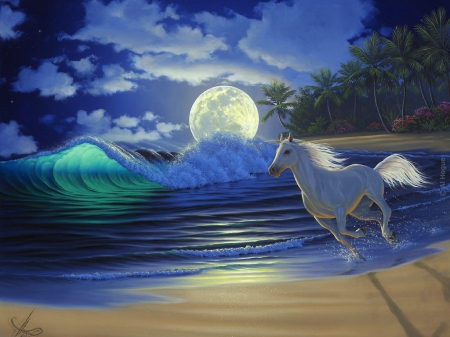 Moonlight Dance - beach, moon, waves, trees, horse, sky, sea, night