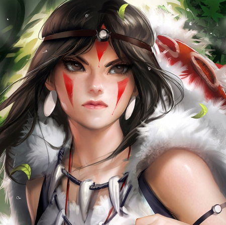 San - pretty, hd, cg, beautiful, mononoke, sweet, nice, anime, feather, beauty, face, anime girl, realistic, long hair, mononoke hime, fur, black hair, female, lovely, princess mononoke, tattoo, san, blood, girl