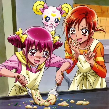 R U Sure .. U Can Cook - candy, pretty, cooking, adorable, sweet, magical girl, nice, pretty cure, anime, anime girl, orabge hair, female, cure happy, lovely, food, silly, kitchen, cute, kawaii, girl, precure, cook, funny, pink hair