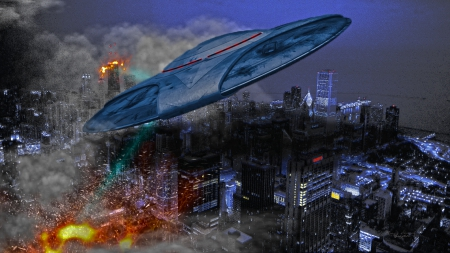 Chicago city UFO Attack - Builing, Light, Vehicle, Feere