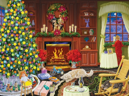 Christmas eve - colorful, art, cozy, christmas, holiday, beautiful, magic, eve, kid, fireplace, tree, santa, warmth, child, wintyer