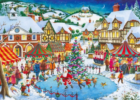 Joy of Christmas - art, christmas, holiday, houses, children, beautiful, fun, joy, winter, pond, tree, snow, painting, peaceful, village