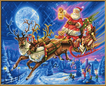 Santa's Work is Done - sleigh, moon, snow, people, houses, reindeer, artwork