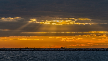 Golden sunlight - clouds, nature, sea, sun  rays