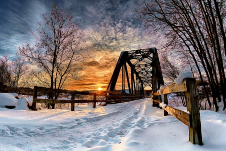 Road Bridge in Winter - sun, snow, colors, sunset, trees, clouds, sky