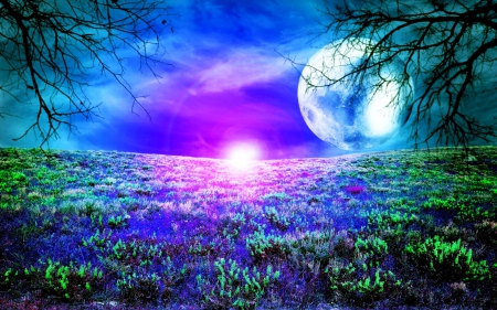 Beauty of Night - colorful, moon, full, magical, landscape