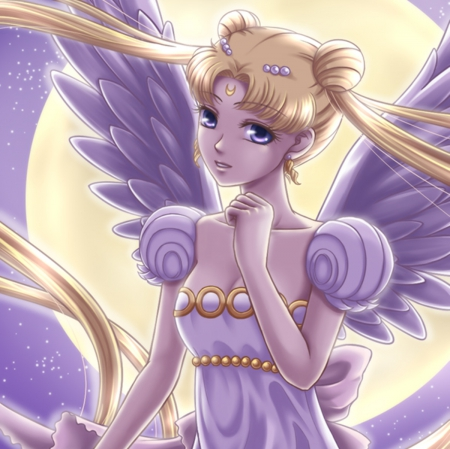 Moon Angel - pretty, wing, sweet, nice, anime, feather, sailor moon, beauty, anime girl, long hair, wings, lovely, twintail, gown, blonde, sky, serenity, maiden, dy, dress, glow, blond, beautiful, twin tail, moon, sailormoon, gorgeous, night, female, angel, blonde hair, twintails, twin tails, princess serenity, blond hair, girl, princess, lady, angelic