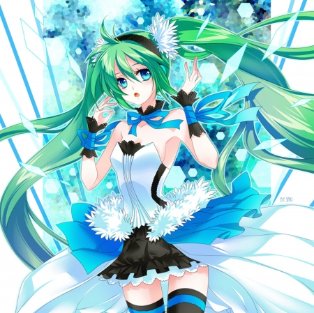 Hatsune Miku - pretty, dress, hatsune miku, beautiful, adorable, sweet, nice, twin tail, anime, beauty, anime girl, vocaloids, long hair, vocaloid, female, lovely, twintail, ribbon, gown, miku, twintails, twin tails, cute, hatsune, kawaii, girl, miku hatsune, green hair