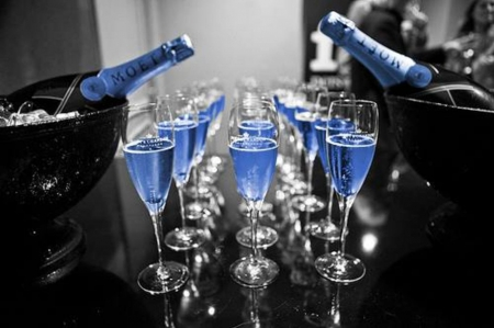 Special 2015 - toast, glasses, champagne, new year, black and blue, two colors, 2015