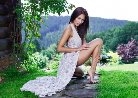 Girl - dress, legs, girl, grass, nature