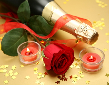Happy New Year - red, stars, confetti, holiday, rose, celebration, ribbon, wick, event, candles, champagne