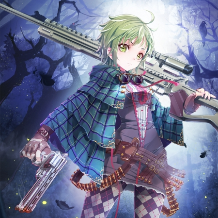GunSlinGer - pretty, hd, cg, beautiful, sweet, nice, bullets, gun, emotional, anime, beauty, anime girl, weapon, sinster, shirt, female, lovely, blouse, gunslinger, short hair, rifle, girl, jacket, sinister, green hair