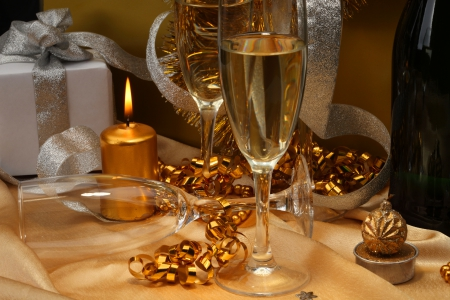 Welcome The New Year! ♥ - candle, present, welcome, toast, golden, champagne, silver