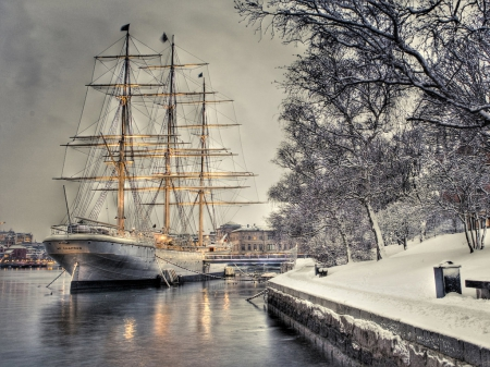 PARKED SAILING SHIP - parked, sailing, trees, harbor, winter