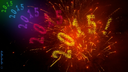 Colorful Exploding New Year! - red, orange, New Year, celebration, colors, yellow, happy new year, y3ar, green, purple, fireworks, violet, blue, celebrate