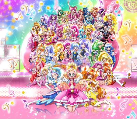 PreCure All Stars - pretty, myoudouin, dress, adorable, sweet, magical girl, nice, pretty cure, group, anime, anime girl, long hair, team, female, lovely, gown, myoudouin itsuki, cute, kawaii, girl, precure, itsuki, itsuki myoudouin