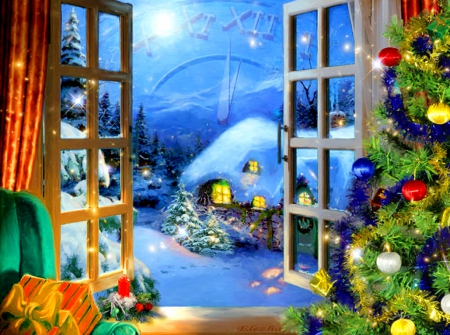 New year magic - house, cottages, home, fairytale, beautiful, midnight, magic, painting, village, art, cozy, window, view, holiday, time, decoration, clock, new year, sky, winter, snow, moonlight, peaceful