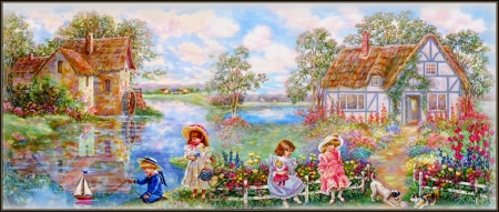 Down By The Mill - water, mill, cottage, children, river, lake, dogs