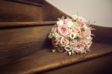 ♥ - bouquet, romance, salmon, love, roses, wedding
