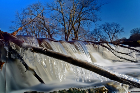 Frigid Winter Falls - icy falls, winter falls, Frigid Winter Falls, winter pond, icy pond