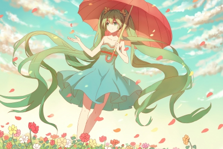Like a Wind - pretty, umbrella, adorable, sweet, floral, nice, anime, beauty, anime girl, vocaloids, long hair, lovely, twintail, miku, sky, cute, hatsune, green hair, dress, hatsune miku, beautiful, auty, twin tail, blossom, vocaloid, female, blouse, twintails, twin tails, kawaii, girl, flower, petals, miku hatsune, sundress, scene