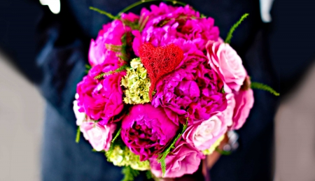 When There Is Love ♥ - bouquet, love, roses, pink, peonies