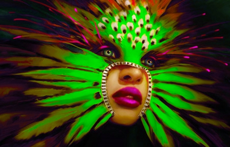 Feather Mask - colorful, art, image, carnaval, mardi gras, beautiful, woman, fantasy, girl, digital, face, photoshop, mask, feathers