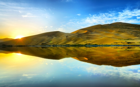 Desert Reflection - Lake, Desert, Reflections, Nature