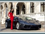 brunette Julia Adasheva and lamborghini