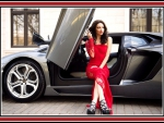 Julia Adasheva a red dress a lamborghini a nice day
