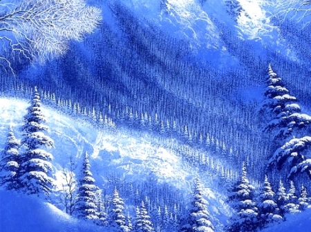 ★Blue & White Winter★ - lovely, white trees, colors, love four seasons, beautiful, xmas and new year, winter, paintings, cool, snow, nature, white, blue