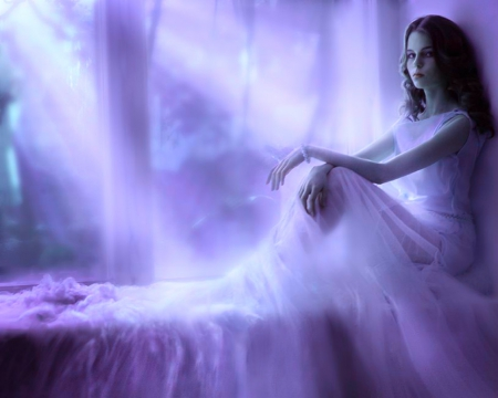 Moonlight beauty - fantasy, rays, woman, night