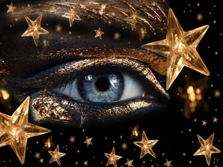 ☆。゚・★。゚Golden starry nights☆。゚・★。゚ - stars, golden, black, good night, woman, gold, blue eye, make, makeup, bright stars, night