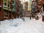 Side Street in Boston after Heavy Snow