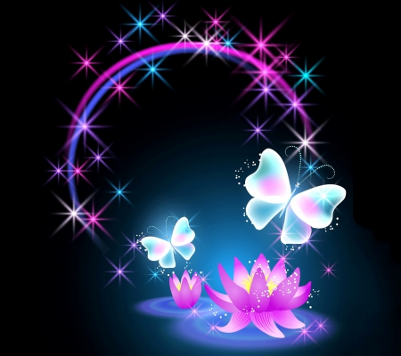 Lotus and Butterfly - Fantasy & Abstract Background ...