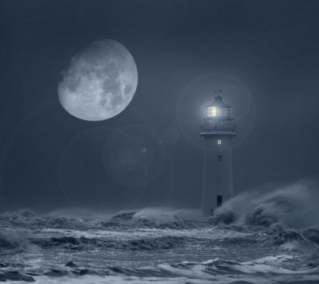 Lighthouse - beacon, moon, storm, lighthouse, sea, night, light