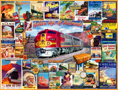 Golden Age of Railroads 1 - railroad, art, locomotive, artwork, train, engine, painting, wide screen, tracks